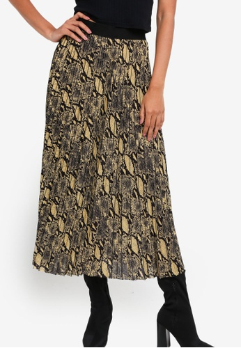 Guess yellow Snakeskin Pleated Skirt 961AEAA44A8588GS_1