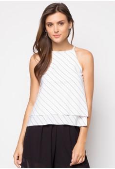 Halter Slanted Stripe Top
