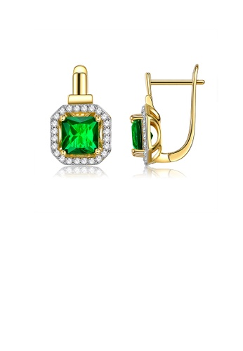 Glamorousky white Simple and Bright Plated Gold Geometric Square Earrings with Green Cubic Zirconia 45BDEAC7E29A97GS_1