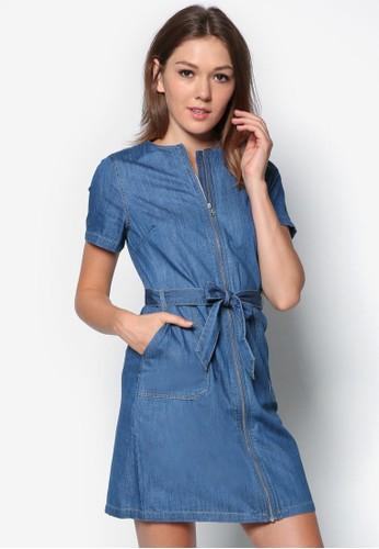拉鍊zalora時尚購物網的koumi koumi短袖丹寧連身裙, 服飾, 洋裝