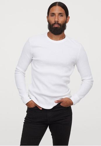H&M white Jersey Top Slim Fit 79930AAFD9492CGS_1