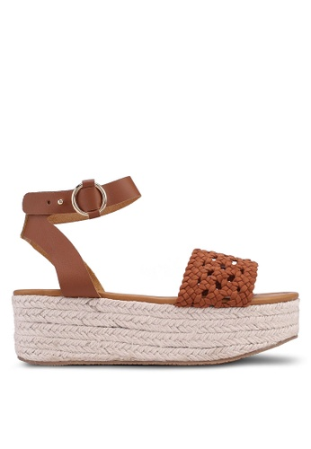 Rubi 褐色 Bamford Woven Flatform Sandals 716BESH2EA8CAAGS_1