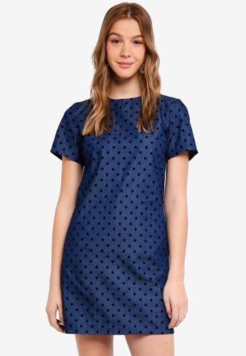 Dorothy Perkins blue Indigo Spot Shift Dress D5C08AAF560469GS_1