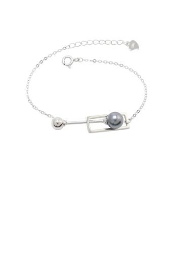 Glamorousky black 925 Sterling Silver Fashion Simple Hollow Geometric Rectangle Black Freshwater Pearl Bracelet DC858ACFCC4BB7GS_1