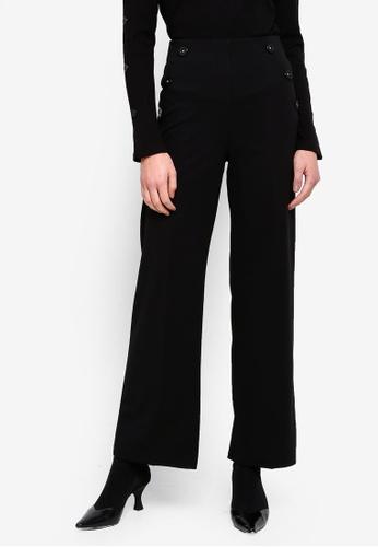 bb35c4fb39ef Miss Selfridge black Black Button Flared Wide Leg Trousers  C1E43AA76567EEGS_1