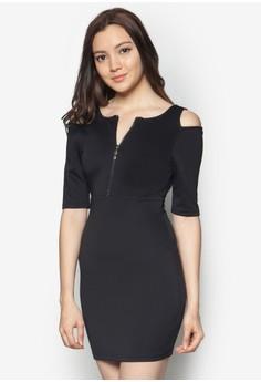 Cold Shoulders Zip Bodycon Dress