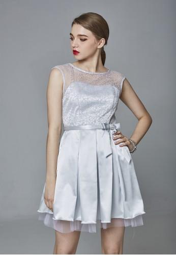 Party系星光蔥zalora是哪裡的牌子網拼接緞面小禮服, 服飾, 派對洋裝