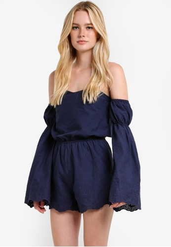ZALORA navy Love Off Shoulder Playsuit With Flared Sleeves A79D6AAF2063DBGS_1