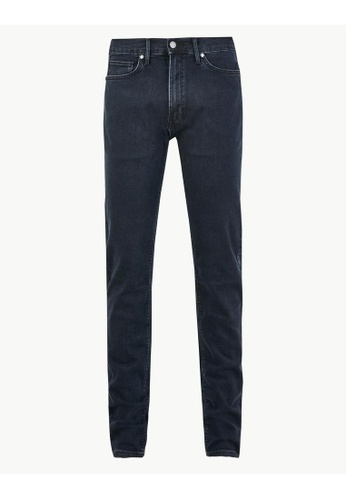 MARKS & SPENCER blue M&S Tapered Fit Stretch Jeans 23ABAAA82F3AAEGS_1
