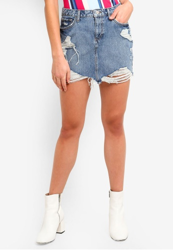 discount collection latest trends best Guess Distressed High Waist Denim Mini Skirt