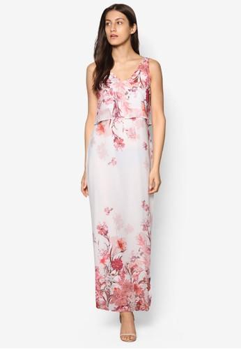 Petite 花卉esprit旗艦店印花層次長洋裝, 服飾, 印花時代