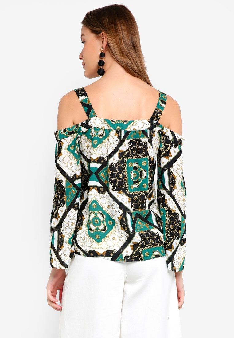 Cold Shoulder Green Print Dorothy Perkins Chain Top q1g7Wftw