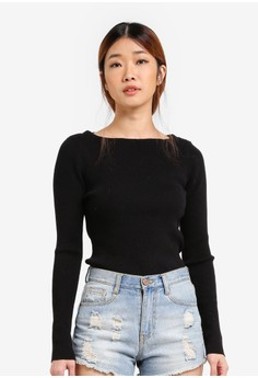 Image of Boat Neck Knit Pullover