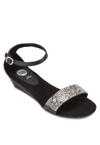Vilena 閃飾一字帶楔型跟涼esprit 香港鞋, 女鞋, 鞋