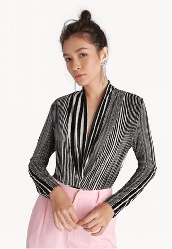 Buy Pomelo Striped V Neck Bodysuit  6ac837ce6