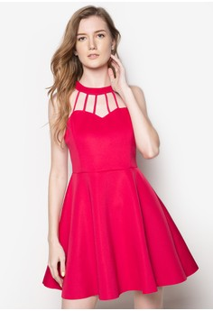 Neck Line Detail Fit And Flare Dress