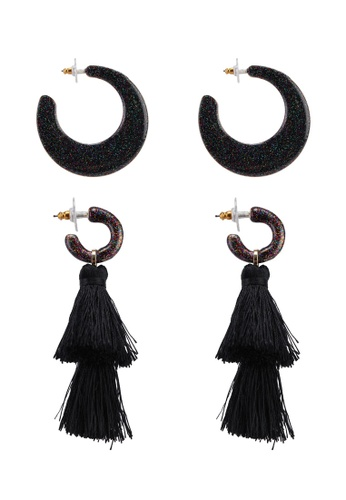 SUGARFIX by BaubleBar black Midnight Glam Earrings Set 26DF1AC36BF4D8GS_1