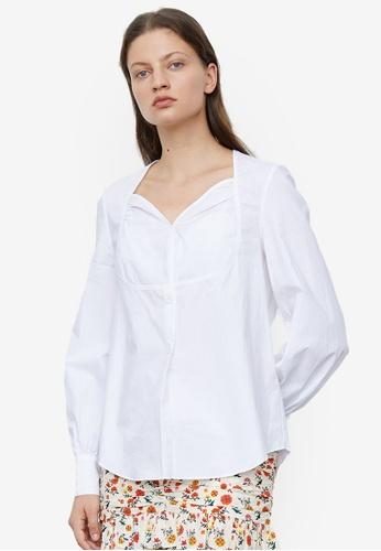URBAN REVIVO white Puff Sleeve Top 83E88AA8F93891GS_1