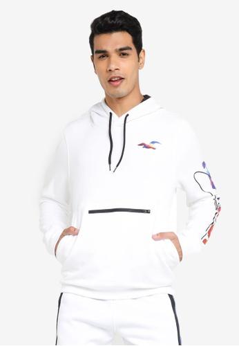 Hollister white Print Hoodie Sweatshirt DD276AAA1AF48CGS_1