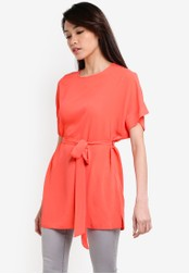 Dorothy Perkins orange Coral Tie Waist Tunic DO816AA38UUZMY_1