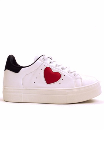 Crystal Korea Fashion white Korean-style Love Pattern Thick Casual Shoes CR681SH2UR94HK_1