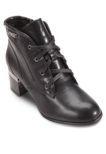 四眼繫帶esprit 面試粗跟短靴, 女鞋, 鞋