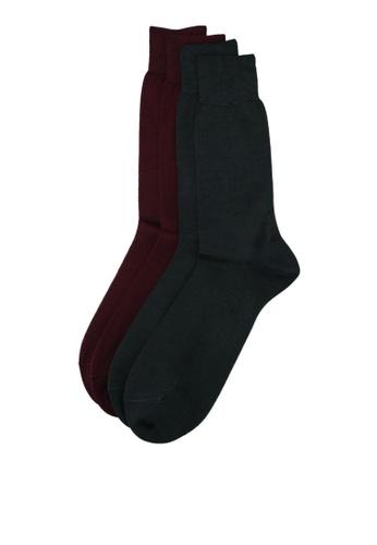 Mango Man green 2 Pack Plain Socks DA65CAA453DA26GS_1