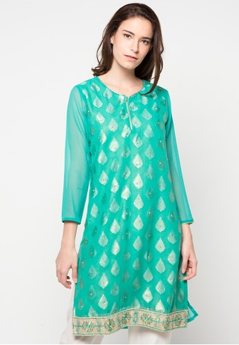 CHANIRA FESTIVE COLLECTION green Raqia Glitter Short Tunic CH354AA54BIVID_1