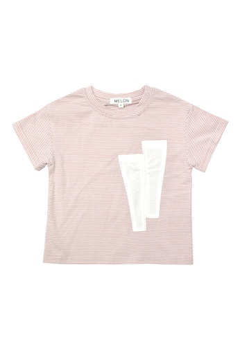MELON white and pink Cotton Stripes Tee, Blush Pink COTTON STRIPES TEE, BLUSH PINK 00C27KACDD14DCGS_1