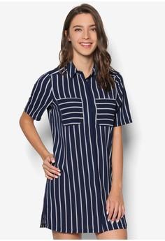Love Striped Shirt Shift Dress