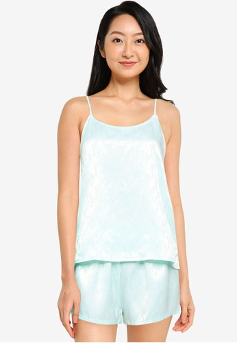 Vero Moda green and blue Nina Nightwear Cami Set 6FAF1AAD665474GS_1