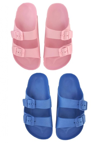 Pineapple pink and blue Kids' Classic Slip-ons 98F62KSA015B19GS_1
