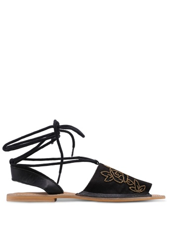 TOPSHOP black Halle Wrap Around Sandals 6D98ESH83ECFAEGS_1