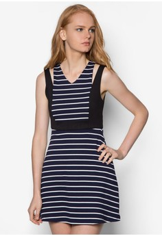 Panel Stripes Fit And Flare Dress