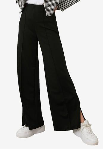 Trendyol black High Waist Flare Slit Pants 4923DAA6B56859GS_1
