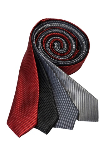 Well Suited black and grey and red and silver Solid Stripe Slim Necktie Combo E C5FAAAC10F8A51GS_1