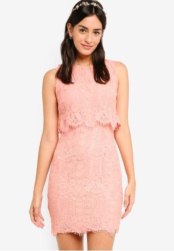 ZALORA pink Bridesmaid Double Layer Lace Dress A43EBAA288DE72GS_1