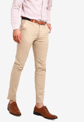 Selected Homme 米褐色 腰帶休閒褲 476D0AADD3AD44GS_1