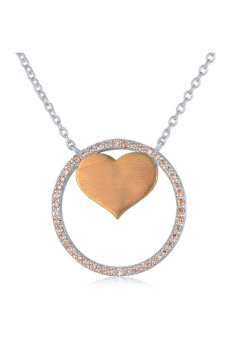 MBLife silver 925 Sterling Silver Plated Yellow Champagne CZ Heart in Ring Necklace C4D67ACEB1C03CGS_1