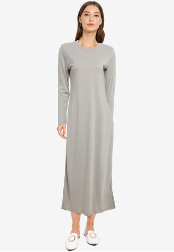Tolliver grey Long Sleeve Midi Dress 65AB0AA4045A40GS_1