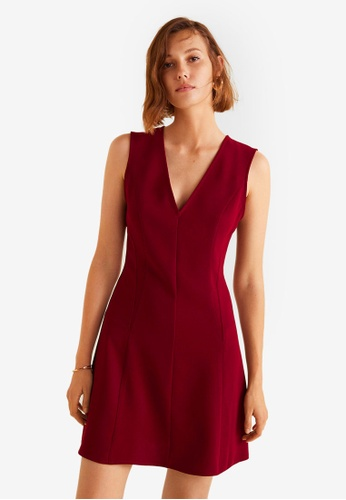 Mango red V-Neckline Dress 13450AA1359E8AGS_1