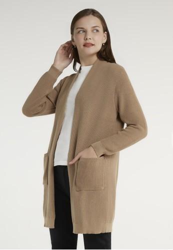 ULTRAVIOLET brown Open Knit Cardigan 507 Almond 20C5AAA35103D6GS_1