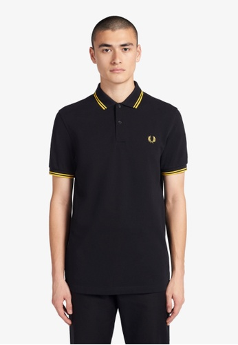 Fred Perry black M3600 - Twin Tipped Fred Perry Shirt - (BLACK/NEW YELLOW) 3885BAA5864F69GS_1