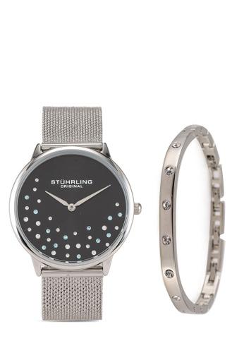 Stuhrling Original black and silver 3928 Quartz Mesh Watch & Bracelet Set DDA17AC6EE3AAEGS_1