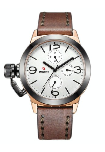 Expedition brown Expedition Jam Tangan - Brown Rosegold Grey - Leather Strap - 6339 BFLGRSL 8E08EAC24390CEGS_1