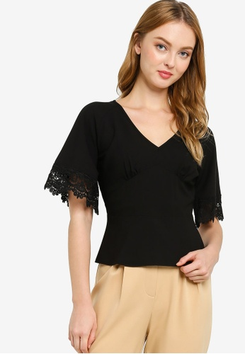 ZALORA WORK black Lace Sleeves Top 76880AAF7978ACGS_1