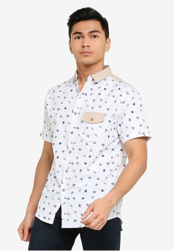 Fidelio white Contrast Shoulder Short Sleeves Shirt 48C1CAAA5CB592GS_1