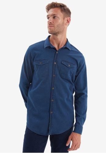 Trendyol blue Metal Button Double Pocket Shirt 584D6AA331F90EGS_1