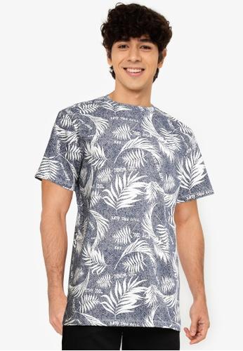 KOTON blue Print T-Shirt DBEC0AA1B6AA62GS_1
