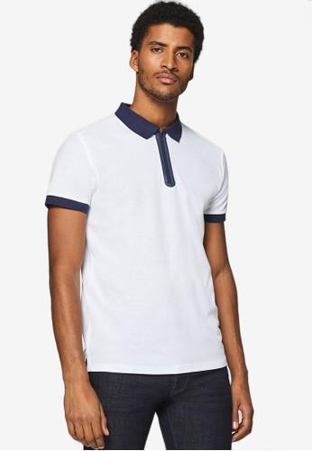 ESPRIT white Short Sleeve Zip Polo Shirt AEDCBAAA497C9DGS_1